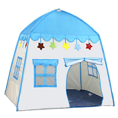 SNOWINSPRING Ni?Os Interior Al Aire Libre Castillo Carpa Bebé Princesa Juego Casa Flores Floreciente Casa Plegable Juego Casa Regalos (Azul)