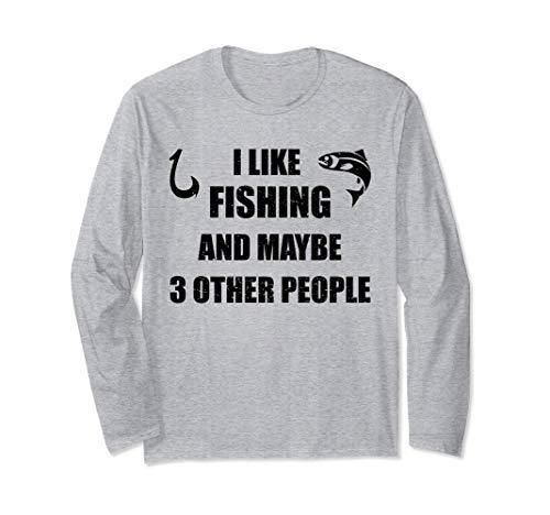Me gusta pescar y quizás 3 personas, regalo divertido de Manga Larga