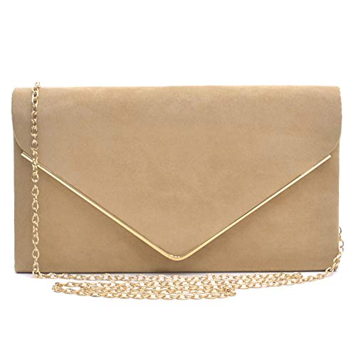 Dasein Ladies' Velvet Evening Clutch Handbag Formal Party Clutch For Women With Chain Strap (Camel)