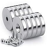 Scheiben Magnete, 25 x 5 mm, 10 Stück Neodym Disc Senkkopf Stark Loch Magnete, 11 kg(25LB) Zugkraft mit 10 Schrauben für DIY Craft