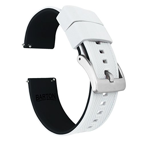 20mm White/Black - Barton Elite Silicone Watch Bands - Quick Release - Choose Strap Color & Width