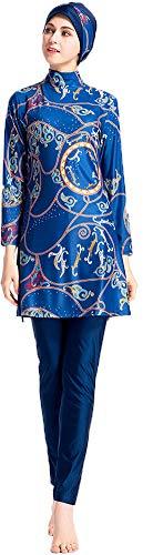 WOWDECOR Muslimischen Badeanzug - Muslim Islamischen Bescheidene Badebekleidung Modest Swimwear Burkini für muslimische Frauen - Hijab Abnehmbaren (Blau, Asien L~Fehlschlag: 92cm)