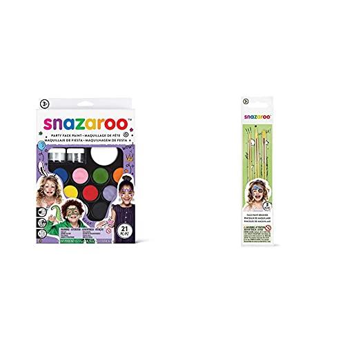 Snazaroo Ultimate Party Pack - Set de Maquillaje de Fiesta + Set de 3 pinceles para pintura facial, color verde