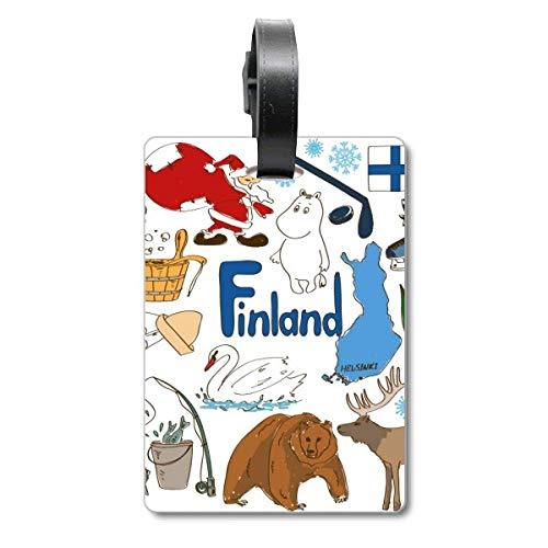 Etiqueta de identificación para Maleta con Bandera Nacional de los Animales de Finlandia, Etiqueta de identificación para turistas