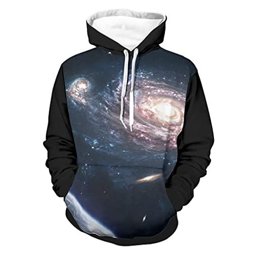 kikomia Sudadera con capucha Fantasy Erde Planet Galaxie con bolsillo de manga larga, Blanco, XXXL