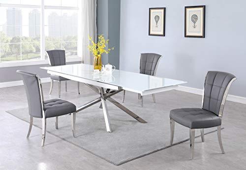 Milan Aurelia Extendable Starphire Glass Dining Table, White