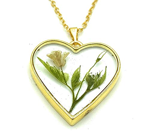 Heart shaped Real Pressed Yellow Flower Necklace with Gold plated chain. Valentine present. Gift box included