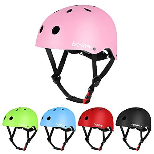 besrey Fahrradhelm Kinder Helmet Kinderhelm für Kinder Junge ab 5 Jahre alt für Sport wie Fahrrad Scooter Roller Inlineskaten Skateboard - Rosa