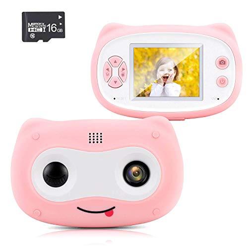 Wangchao Cartoon schattige kindercamera, 2 inch scherm, 8 megapixel, ingebouwde meerdere cartoon-fotolijsten, milieuondersteuning uitgebreid 32 GB (inclusief 16 GB kaart)