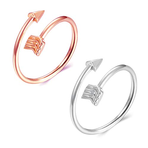 Long tiantianSilver Arrow Ring Set for Teen Gilrs Adjustable Vsco Ring for women Size 5-12
