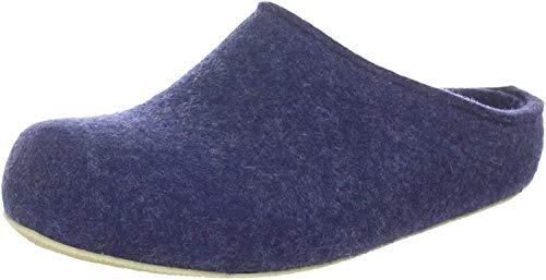 Haflinger Michl Damen Schurwoll Hausschuhe Pantoffeln Jeans, Warmes Fußbett, Gummi Sohle, für Lose Einlagen, 1939104/36