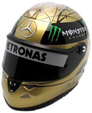 Michael Schumacher Replika Helm Gold Mercedes F1 Spa 2011 1:2