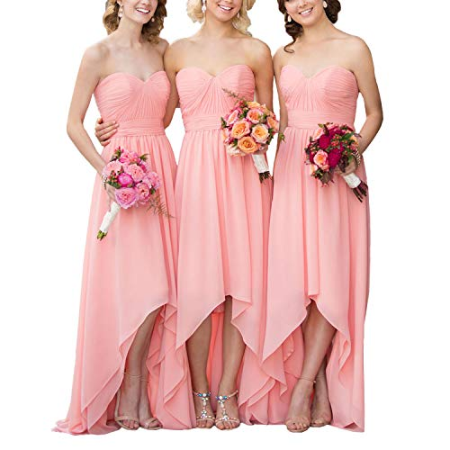EUMI Bridesmaid Dresses Chiffon High Low Sweetheart Country Bridal Party Gowns,Blue
