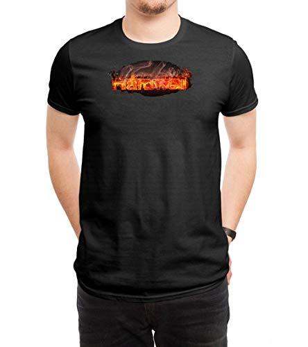 HUANGHUIH Herren Hardwell Fire Logo Cotton Print T-Shirt Top Tee X-Large