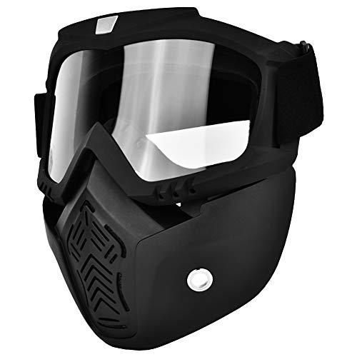 Gafas/Máscaras Mascarilla facial antibalas, antivaho, resistente a los rayos UV Protector de ojos para esquí, senderismo y ciclismo (Negro y transparente,)