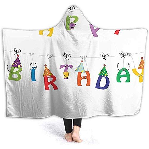 Henry Anthony 60 x 50 Zoll mit Kapuze Decke, süße Bunte Buchstaben auf Seilen lustige Gesichter Spitze Party Hüte für Kinder Multicolor Wele weiche warme Plüsch Fle