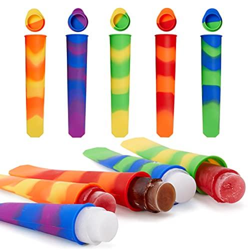 BRAMBLE! 10 Moldes de Silicona Helados con Tapa, Polos de Hielo (80ml) - Sin BPA