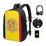 Andorra Flag Mochila para computadora portátil a prueba de agua con puerto de carga USB Puerto para auriculares Se adapta a 17 pulgadas Mochilas para computadora portátil Mochila de viaje Mochilas esc