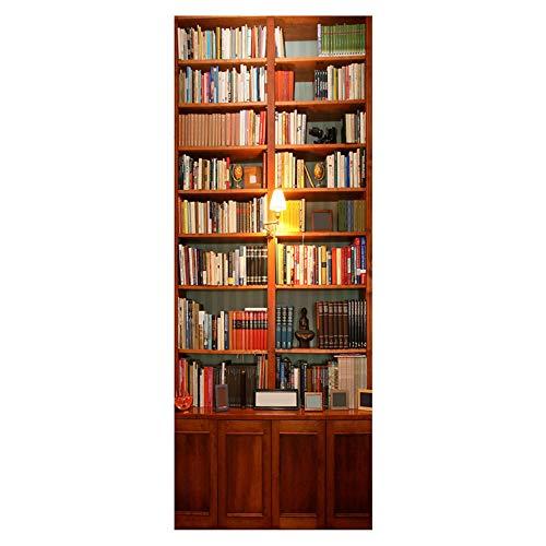 alwayspon Arte Moderna 3D Adesivo di Porta, Buccia e Bastone Vinile Rimovibile Porta Decalcomanie per la Decorazione Domestica, 30.3x78.7(77x200cm), Set di 2 PCS Libreria
