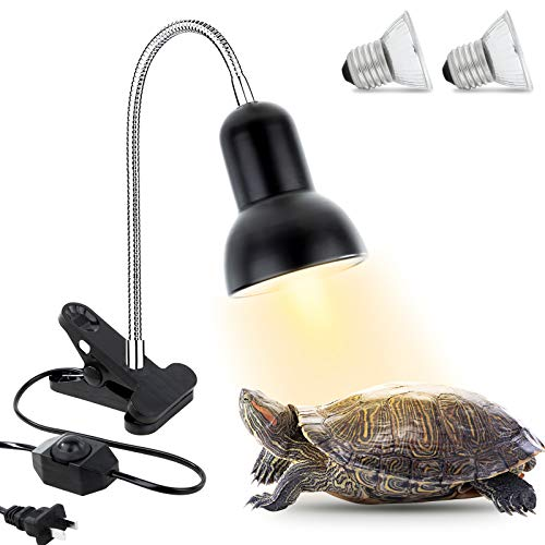 Reptile Heat Lamp, Clamp Lamp for Aquarium Adjustable Light and Temperature with Holder UVA UVB Basking Lamp with 360°Rotatable Clip for Turtle Snake Aquarium(2 Pack 50 W Lamp Bulb Include)