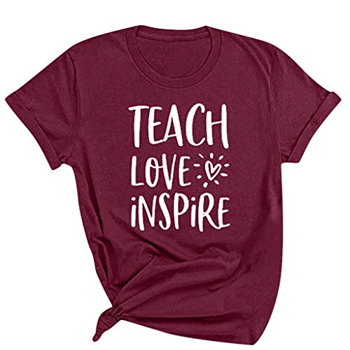 KANGMOON Womens Teach Love Inspire Letters Printed Shirt Casual Solid Short Sleeve Heart Pullover Blouses Simple Loose Tops