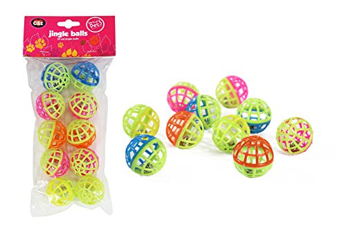 Plastic cat kitten play balls jingle bell assorted colours pack of 10 games...