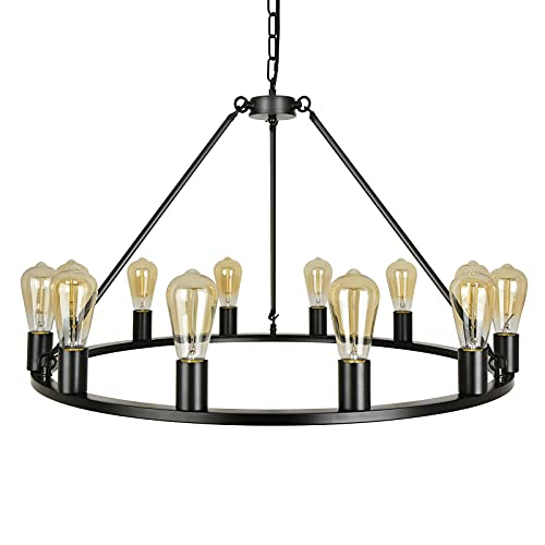 Linsly Wagon Wheel Chandelier, 12-Lights Farmhouse Chandelier, Rustic chandelier light fixture, Black Round Large Island Light,Country Style Pendant Lighting for Kitchen,Dining Room,Living Room,XL-W12