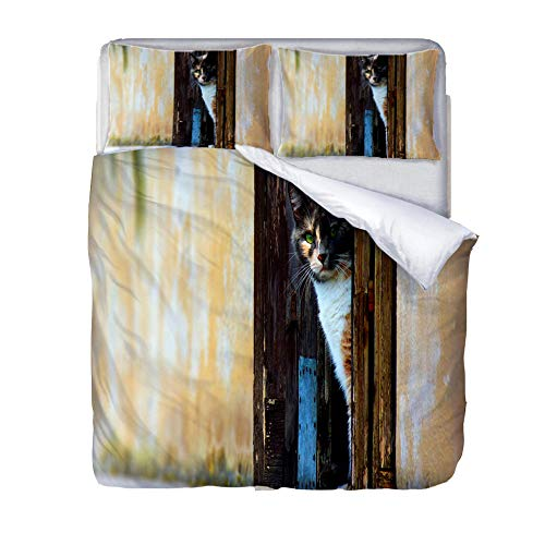 Duvet Cover Set King-Zipper Closure with 2 Pillow covers Bedding Set Ultra Soft Hypoallergenic Microfiber Quilt Cover Sets Observation-Cat