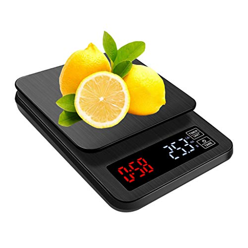 LXYScales Digitale draagbare keukenweegschaal, 1 g/0,1 g, hoge precisie, met timer, koffieschaal, led-display, tarrafunctie, goed afleesbaar (zwart) keukenweegschaal