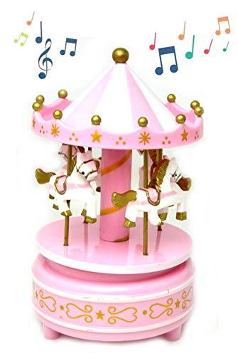 VENTURA TRADING Terminar 4 Caballo Carrusel Giratorio Caja de música clásica Tiovivo con Melody Caja Musical de Feria Cumpleaños Navidad Festival Presente