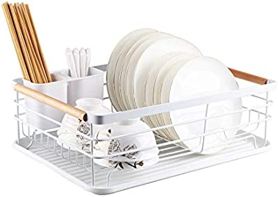 Wood Handle Dish Rack and Drain Board Dish Rack with Drain Board for Kitchen Counter