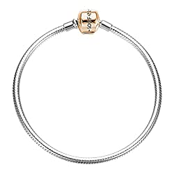 Soufeel Armband Silber 925 Schnalle Rosagold Vergoldet 925 Sterling Silber Basis Charms Beads Armband 17cm