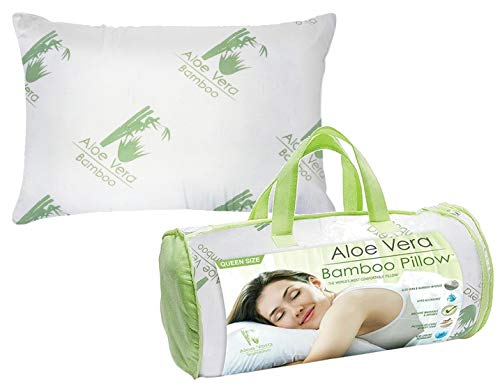 Country Club Aloe Vera Bamboo Pillow - Fluffy Memory Foam Hypoallergenic Cooling Comfort - Queen Size 1 pack