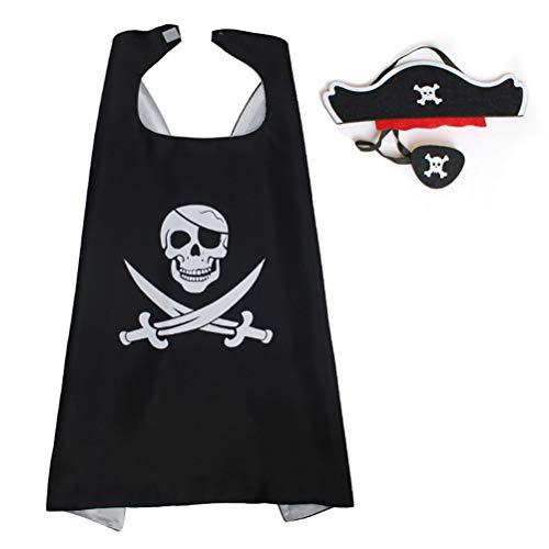 Vssictor Disfraz de pirata de Halloween para nios Capa de ojo Patch Set Prop Halloween Costume Fancy Props