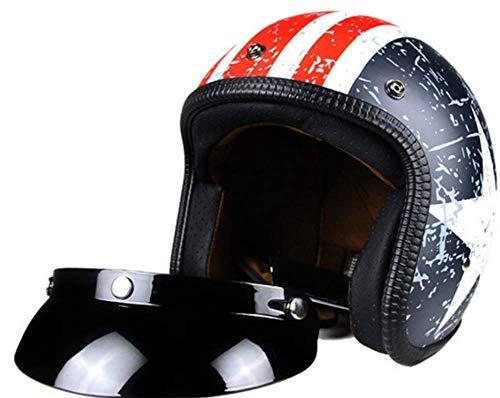 Gymqian Casco Moto Jet, Biker Jet-Helm Helmet Retro Scooter-Helm Chopper Vintage Mofa Cruiser Pilot Bobber Moto Helmetsrrad-Helm Roller-Helm Vespa-Helm, Capitán América Casco