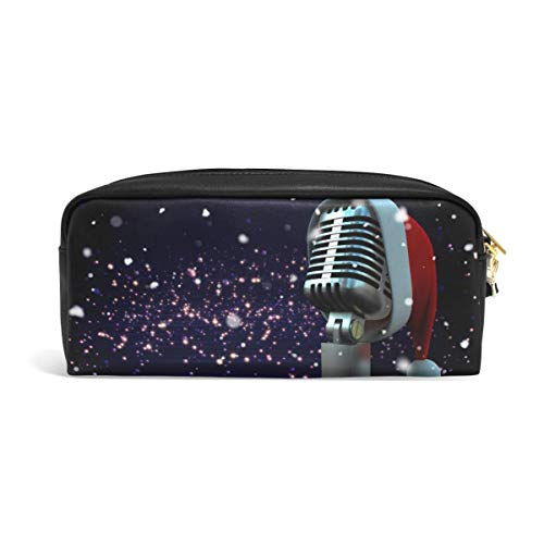 DEZIRO Microfoon met Santa Hoed Patroon Potlood Case Box Cosmetische Tas
