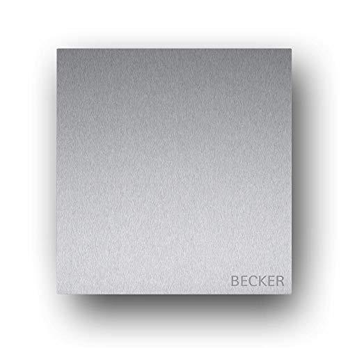 Briefkasten Edelstahl B1 Light Steel, moderner Premium Design Wandbriefkasten ohne Zeitungsfach mit Namensbeschriftung
