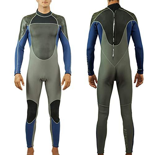 HUOFEIKE Traje de buceo para hombre, de 1,5 mm, neopreno, para surf, UPF50+, protección solar, costuras planas, cremallera trasera, natación, snorkel, talla L