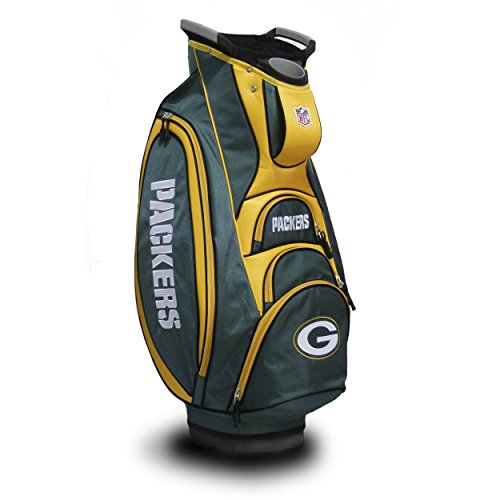 Team Golf NFL Green Bay Packers Victory Golf Cart Bag, 10-way Top with Integrated Dual Handle & External Putter Well, Cooler Pocket, Padded Strap, Umbrella Holder & Removable Rain Hood