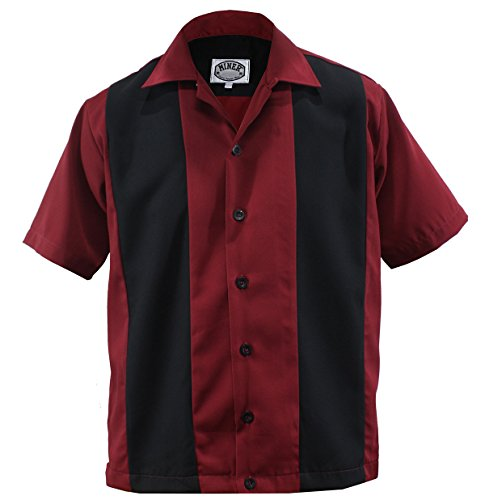 Bowling Shirt Worker Hemd Rockabilly Two Tone Gabardine Lounge 50er Vintage Retro Double Panel (M/Medium, Rot/Schwarz)