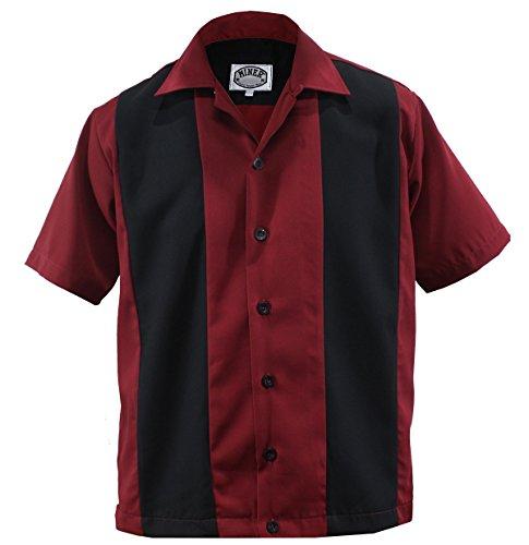 Bowling Shirt Worker Hemd Rockabilly Two Tone Gabardine Lounge 50er Vintage Retro Double Panel (XL/Xtra-Large, Rot/Schwarz)