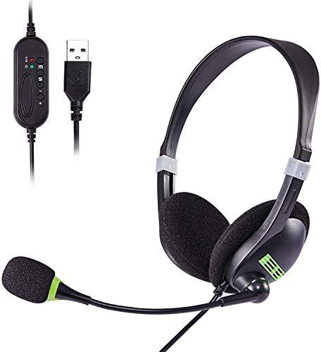 USB Headset, PC Headset mit Mikrofon Noise Cancelling & Lautstärkeregler, Computer Chat Headset für Skype, Webinar, Homeoffice, Gaming, e-Learning und Musik, Call Control, Ultra Komfort