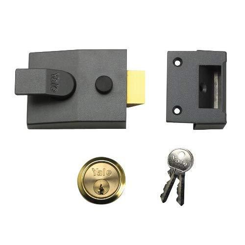 Yale Locks 85 Nachtriegelschloss, Messingzylinder, Dornmaß 40mm, verpackt, dunkelgrau-metallic
