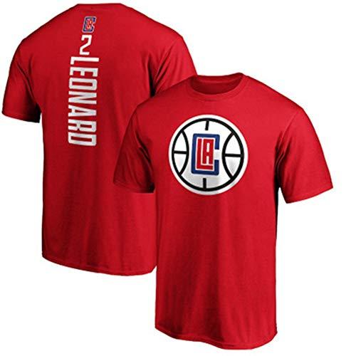 HS-FWJ.HW Los Angeles Clippers Kawhi Leonard NO.2 Reine Baumwolle Basketball Kurzer Ärmel Sport-T-Shirt Läuft Atmungsaktiv Fitness-Trainingsanzug,Rot,XXXL