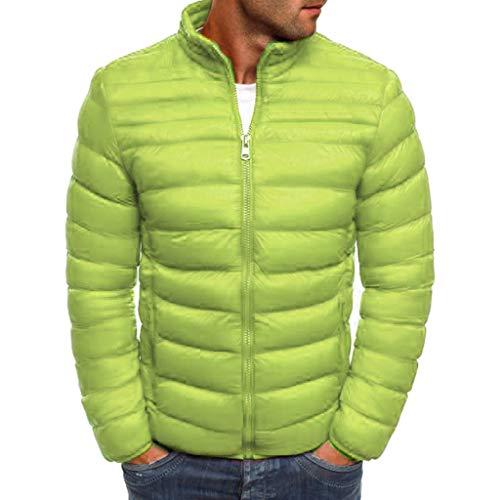 Kaiki Herren Sportjacke mit kleineren Reißverschlüssen Winter Winterjacke Steppjacke Sweatjacke Draussen Wärmejacke Jackenständer Zipper Warm Gesteppt Outwear Mantel (3XL, Grün)