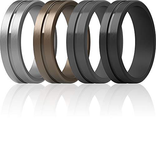 ThunderFit Men's Silicone Ring Rubber Wedding Band - 4 Rings (9.5 - 10 (19.8mm))