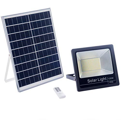 Luz Solar LED 120W Exterior Con Mando a Distancia, Foco Con Placa Solar, Batería, Control Remoto, Autonomía 8-15 Horas