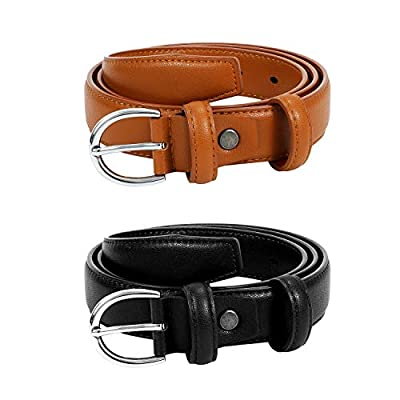 Fashion Skinny Belts for Women Black Brown Leather Waist Belts for Jeans Dresses Pants with Classic Pin Buckle Belt Width 1.1 Inch