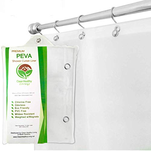 Clean Healthy Living Premium PEVA White Shower Curtain Liner...