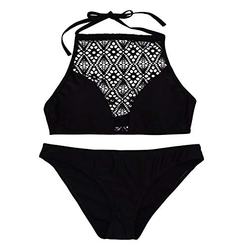 YWLINK Elegant Neckholder Bikini Badeanzug Set Sandstrand BH Frauen Sommer Bikini Set Mesh Badeanzug MäDchen Badebekleidungs Neckholder Mode(Schwarz,S)